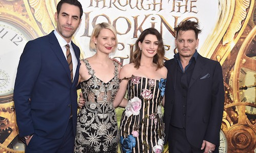 HOLLYWOOD, CA - MAY 23: (L-R) Actors Sacha Baron Cohen, Mia Wasikowska, Anne Hathaway and Johnny Depp attend Disneyís 'Alice Through the Looking Glass' premiere with the cast of the film, which included Johnny Depp, Anne Hathaway, Mia Wasikowska and Sacha Baron Cohen at the El Capitan Theatre on May 23, 2016 in Hollywood, California.  (Photo by Alberto E. Rodriguez/Getty Images for Disney) *** Local Caption *** Sacha Baron Cohen; Mia Wasikowska; Anne Hathaway; Johnny Depp