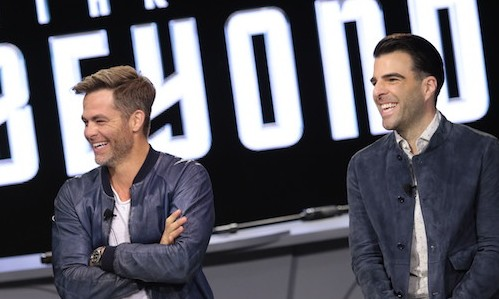 Chris Pine and Zachary Quinto attend the Star Trek Beyond Fan Event at Paramount Pictures Studios in on May 20, 2016 in Hollywood, California.  (Photo: Alex J. Berliner/ABImages)