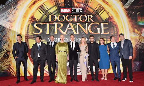 "HOLLYWOOD, CA - OCTOBER 20:  (L-R) Actors Benjamin Bratt, Benedict Wong, Mads Mikkelsen, Tilda Swinton, wearing Haider Ackermann, Benedict Cumberbatch, Rachel McAdams, writer/director Scott Derrickson, executive producers Victoria Alonso, Louis D'Esposito and president of Marvel Studios/producer Kevin Feige attend The Los Angeles World Premiere of Marvel Studiosí ""Doctor Strangeî in Hollywood, CA on Oct. 20th, 2016.  (Photo by Alberto E. Rodriguez/Getty Images for Disney) *** Local Caption *** Benjamin Bratt; Benedict Wong; Mads Mikkelsen; Tilda Swinton; Benedict Cumberbatch; Rachel McAdams; Scott Derrickson; Victoria Alonso; Louis D'Esposito; Kevin Feige"