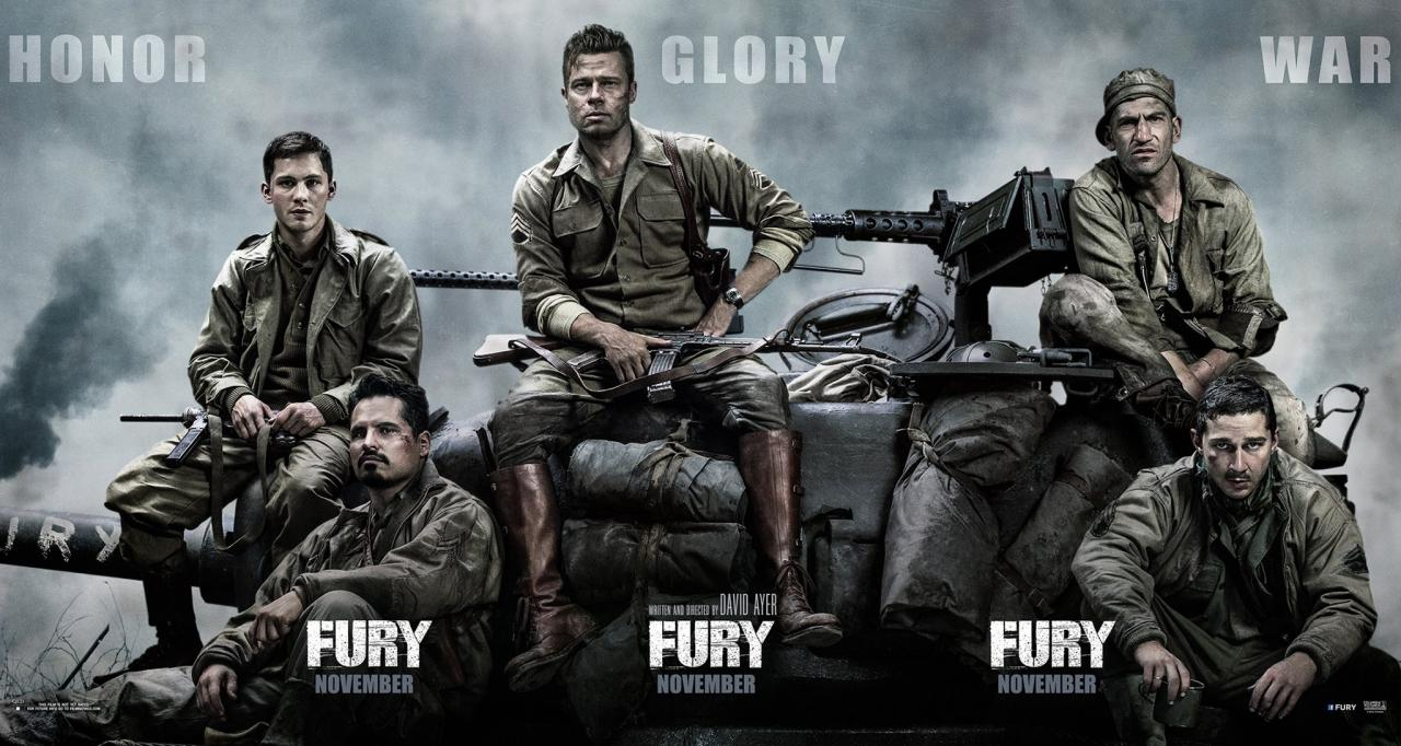 FURY Banner With BradPitt Realmichaelpena And LoganLerman - New official trailer fury starring brad pitt