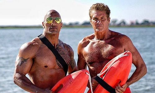 the hoff and the rock in this new baywatch movie set photo rama s